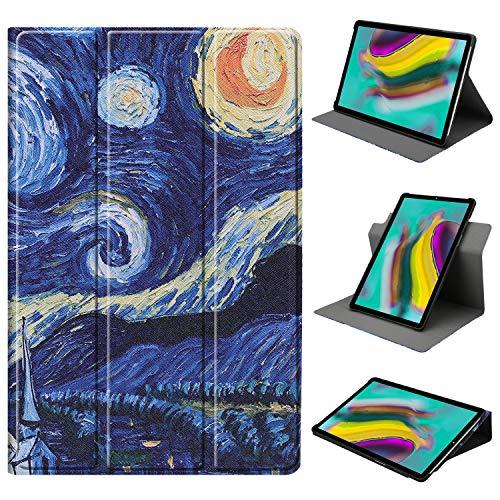 HoYiXi Hülle für Samsung Galaxy Tab A 10.1 360 Grad drehbar Tri-Fold Schutzhülle Ständer Cover für Samsung Galaxy Tab A 10.1 T510 / T515 (2019) - sternennacht