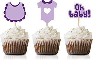 Purple Oh Baby Cupcake Topper Picks, 24-Pack Girl Baby Shower Or Birthday Party Supply Decorations
