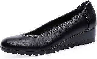 TIHOO Women's Classic Mid Wedge Heel Loafers Comfort Round Toe Platform Slip On Pump Shoes