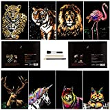 Scratch & Sketch Art Paper(A4) for Kids & Adults, Rainbow Painting Night View Scratchboard, Art&Craft, Engraving Art Set: 8 Sheets Scratch Cards & Scratch Drawing Pen, Clean Brush (Animal Series)