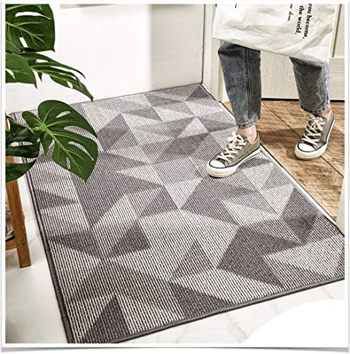 "Indoor Doormat, 32""x 48"" Absorbent Front Door Mat, Non Slip Rubber Backing Entryway Rug, Inside Floor Mud Dirt Trapper Entrance Door Rug Shoes Welcome Mat, Machine Washable Profile-Grey Geometric"