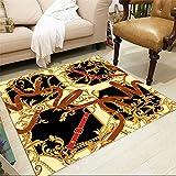 Amarillo Alfombras Pequeñas Para Dormitorio Impresión cuadrada rara de lujo y tinte Retro Patrón de gama alta alfombra de salón retro alfombras redondas grandes alfombras cocina antideslizant130x190CM