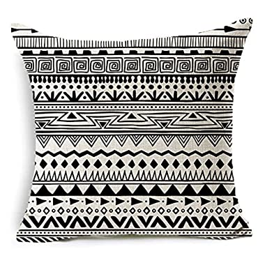 Colorxy Decorative Throw Pillow Covers Black and White Bohemian Geometry Cotton Linen Cushion Covers Home Decor Gift 18 x 18 inch