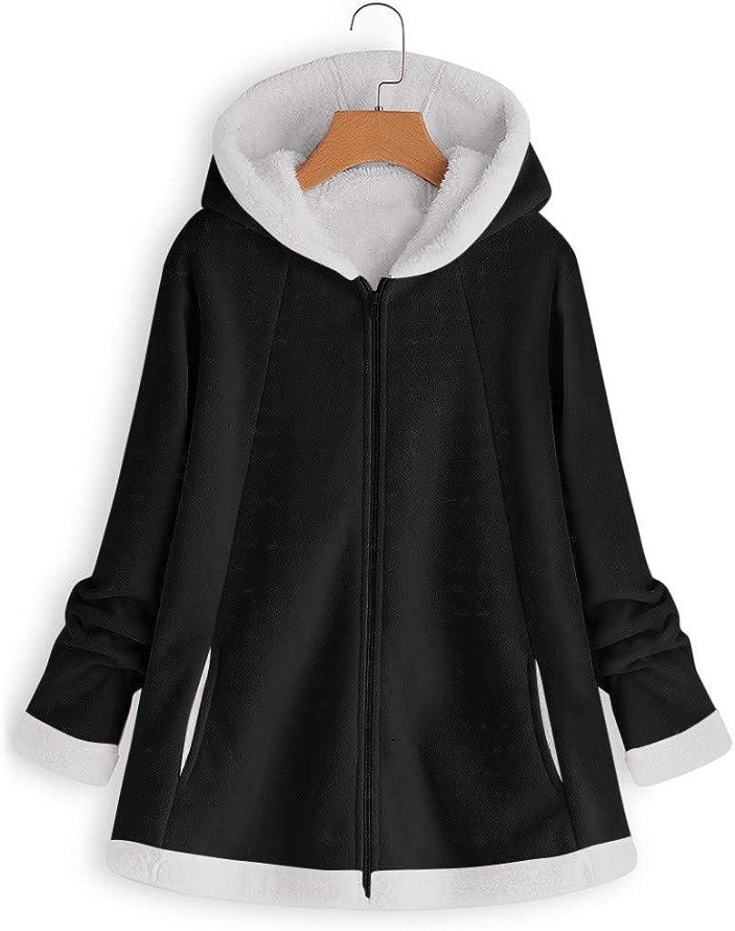 Auifor Damenmode Winter Tasche Reißverschluss Langarm Plüsch Hoodie Mantel A-schwarz