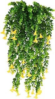 XHXSTORE 3pcs Planta Colgante Artificial con Flores Amarillas 80cm Guirnaldas Hiedra Decoracion Enredadera Plastico para E...