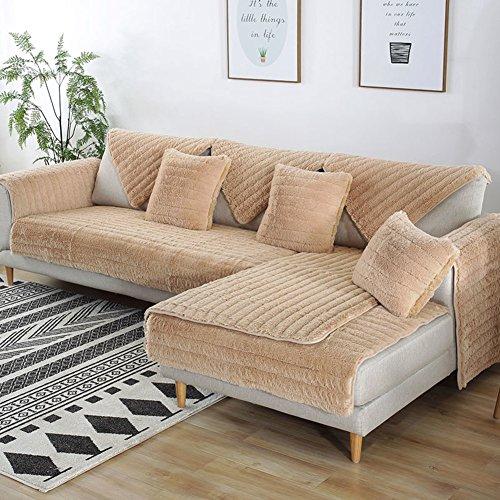 FDJKGFHGFCGDFGDG Volle Deckung schonbezug Sofa,Winter Anti-rutsch plüsch sofabezug Rückenlehne zu Decken Moderne schlichtheit Couch abdeckungen Sofabezug für Wohnzimmer -Weiß 90x180cm(35x71inch)
