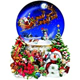 Santa s Snowy Ride - Snow Globe Reindeer Holiday Christmas Shaped Puzzle - 1000 pc Jigsaw Puzzle