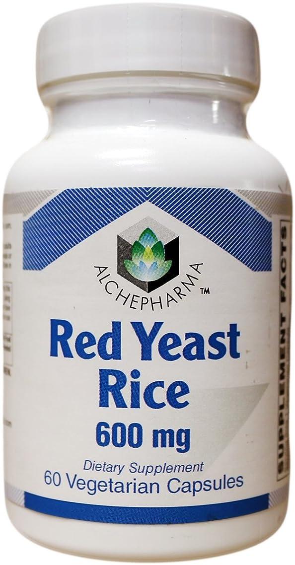 AlchePharma Red Yeast Rice W/Coq10 Nac &Milk Thistle, Veg Caps.