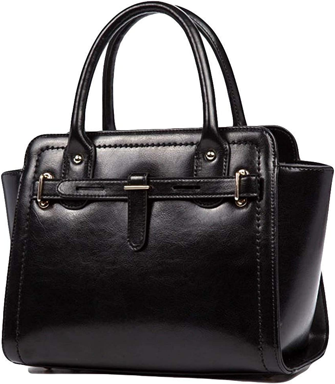 Ladies Handbag Fashion Genuine Leather Handbag Shoulder Messenger Bag Tote Satchel CrossBody Bag for Women (color   Black, Size   28  15  23cm)