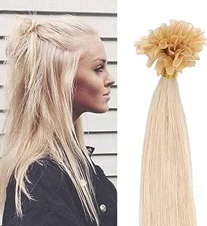 SEGO Pre Bonded U Tip Hair Extensions Human Hair 100 Strands Keratin Fushion Nail Tip Human Hair Extensions 100% Real Remy Hair Silky Straight #613 Bleach Blonde 22 inches 50g
