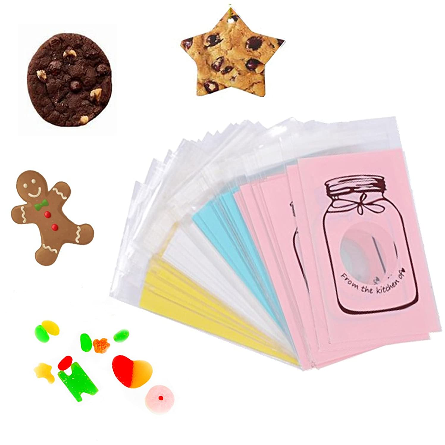 100PCS Clear Resealable Treat Bags – Cellophane Wrap Bags Self-Sealing, Nice for Bakery Candy Decorate,Food Safe (by Bela Beno) (White)