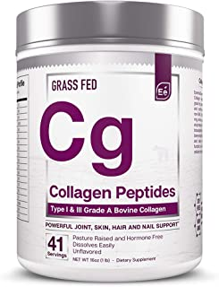 Collagen Peptides Powder - Joint, Skin, Hair and Nail Support | Type 1 & 3 Peptides - Essential Elements | Preservative-Free, Grass-Fed, Hormone-Free, Dissolves Easily - 41 Servings