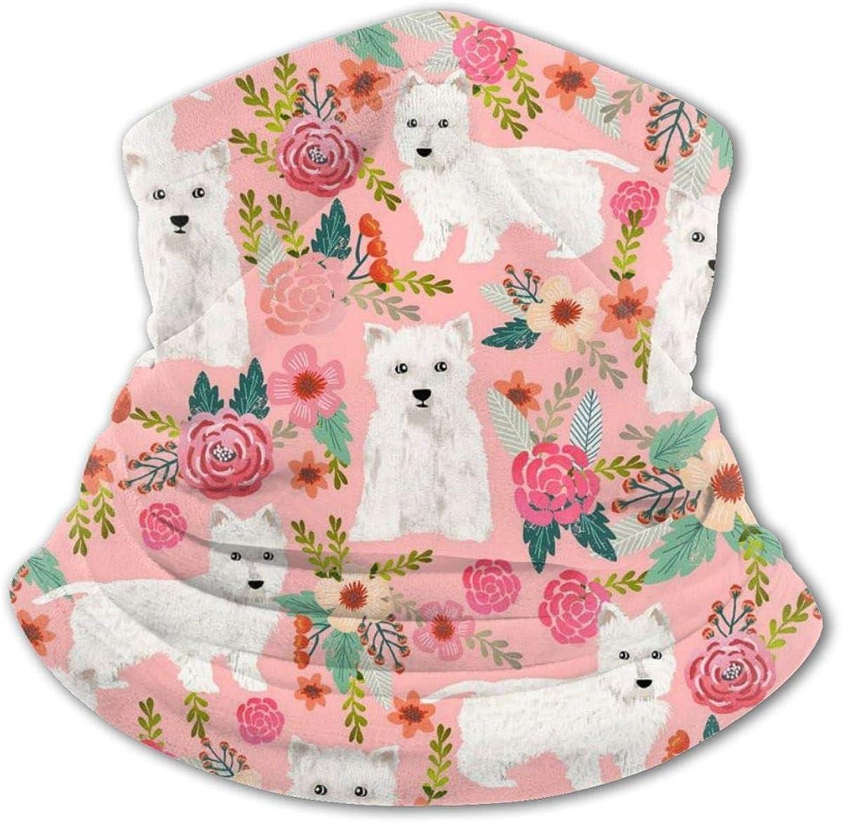 Westie Floral Headwear For Girls And Boys, Head Wrap, Neck Gaiter, Headband, Tenn Fishing Mask, Magic Scarf, Tube Mask, Face Bandana Mask For Camping Running Cycling