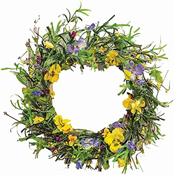 CWI Gifts 20 Artificial Mixed Pansy Wreath Multicolored