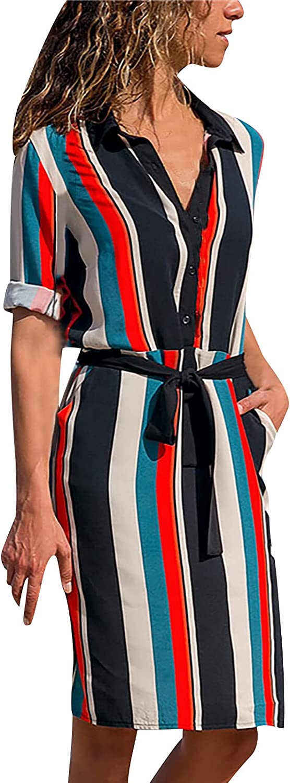 Womens Summer Dresses Empire Waist Stand Collor Half Sleeve Button Clousure Dress with Belt Midi Swing Flowy Slim Dress