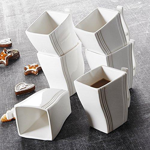 MALACASA Série Flora 6pcs Mugs Tasse à Café Service à Café Thé Tasses en Porcelaine 11,5 * 7,5 * 11cm Blanc Design Moderne