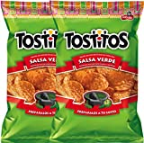 Tostitos Salsa Verde Flavored Tortilla Chips To Dip Snack Care Package for College, Military, Sports 12.5 Oz (2)