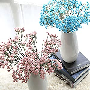 YESBAY Artificial Flowers, Fake Flowers Silk Artificial Gypsophila Plastic Artificial Flower Bridal Wedding Bouquet for Home Garden Party Wedding Decoration