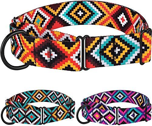 CollarDirect Aztekenmartingal-Halsbänder für Hunde, strapazierfähig, Tribal-Muster, Sicherheitshalsband, Nylon, Größe L, M, Größe M, Halsumfang 30,5 - 43,2 cm