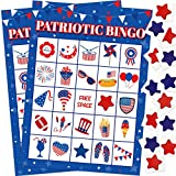 Patriotic Bingo Game 24 Players for Kids 4th of July Classroom Party...