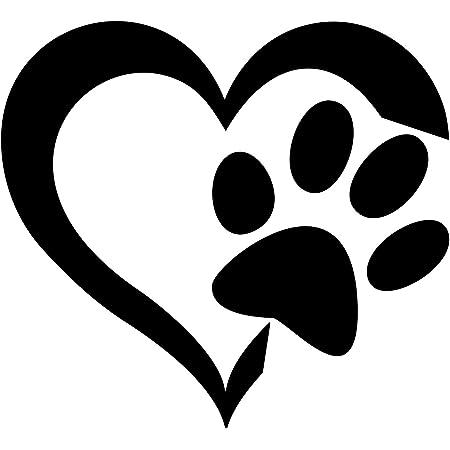 Folistick Love Hund Katze Aufkleber Pfote Herz Laptop Sticker Autoaufkleber Monsteraufkleber Schwarz Auto