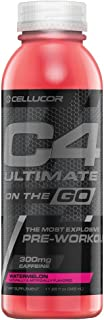 Cellucor C4 Ultimate On The Go Zero Sugar Pre Workout Drink, Energy Drink + Beta Alanine, Watermelon, 11.66 Fl Oz (Pack of...