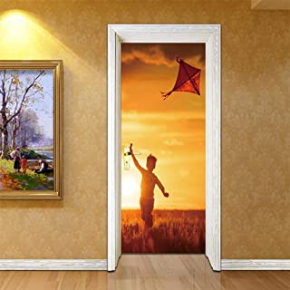FCFLXJ Papel pintado 3D para puerta Pegatina autoadhesiva de Niño cometa PVC para puerta, papel pintado con foto 3D, Mural, sala de estar, Puerta del dormitorio, pegatinas de decoración 80 * 200CM