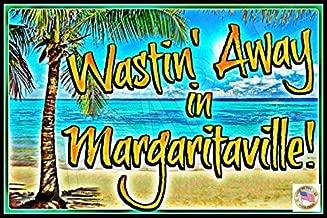 Nawilbi Bar Sign Wasting Away Margaritaville All Weather Metal Beach Bar Luau Happy Hour (12X8, Beach)