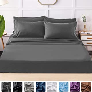 LIANLAM King Bed Sheets Set - Super Soft Brushed Microfiber 1800 Thread Count - Breathable Luxury Egyptian Sheets 16-Inch Deep Pocket - Wrinkle and Hypoallergenic-6 Piece(Dark Grey,King)