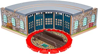 Orbrium Wooden Railway Roundhouse with Turntable Compatible with Thomas Wooden Railway System Brio Imaginarium Chuggington Melissa Doug Engine Shed
