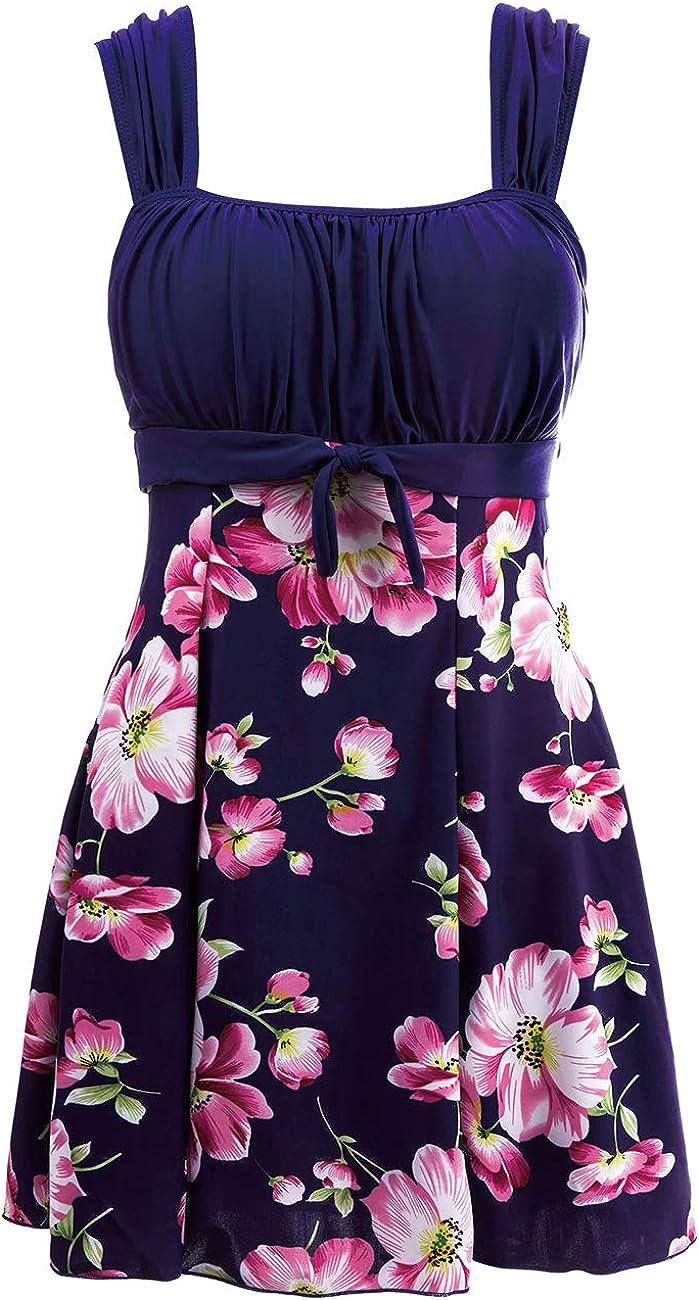Wantdo Women's One-Piece Swimdress Plus Size Skirtini Cover Up Swimsuit