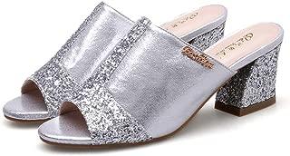 Cosplay-X Women's Block Mid Heel Mules Slip on Peep Toe Sandals Dress Pump Slides Sequin Backless Summer Slipper
