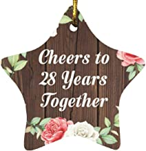 28th Anniversary Cheers to 28 Years Together - Star Wood Ornament A Christmas Tree Hanging Decor - for Wife Husband Wo-Men...
