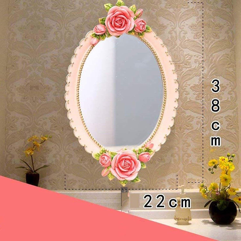 Mirrors European Creative Bathroom Mirror, Dressing Room Mirror, Beauty Salon Mirror, Sitting Dual-use 38  22CM (color   A) (color   A)