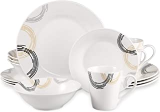 Cutiset 16-Piece Porcelain Dinnerware Set, Kitchen Dinner Set with Dinner Plates, Dessert Plates, Soup Bowls, Mugs, Service for 4 (16 Pieces, Curve Pattern)