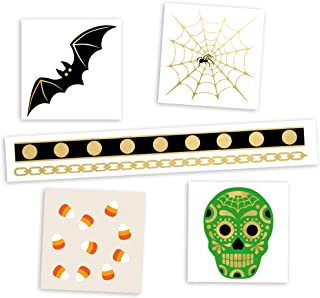 HOCUS POCUS VARIETY SET of 25 assorted Flash Tattoos spooky-inspired premium waterproof metallic gold & silver jewelry temporary foil party tattoos - Party Supplies, gold tattoo, spider web