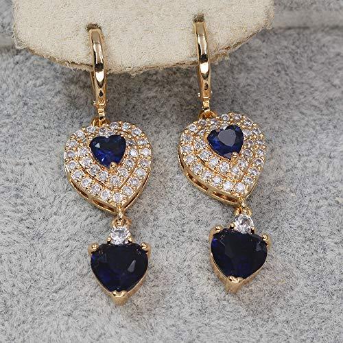 HoopsEarringsForWomen,Bohemia Heart Blue Zircon Long Pendant Hoop Earrings Hypoallergenic Lightweight Hoop Ring Circle Jewelry Earrings For Women Girls Party Wedding