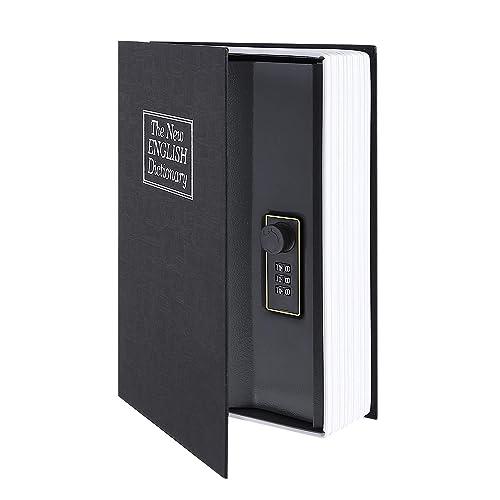 Coffre-fort de livre avec le dictionnaire de serrure de Combinaison Livre de diversion Coffre-fort, Coffre-fort portatif, Grand pour stocker l'argent (Moyen Noir)
