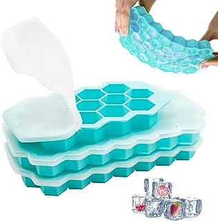 Eiswürfelform Silikon Eiswürfelform 1er Pack 13-Fach und 2er Pack 37-Fach mit Deckel BPA Frei Ice Cube Tray für Familie Bars Bier,Cocktails,Whisky