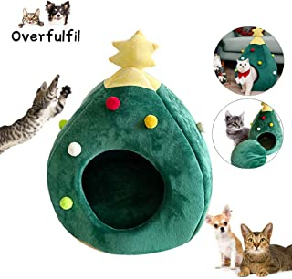 Overfulfil New Christmas Tree Cat House - Cat Tent Cave Bed,Winter Warm Soft Comfortable Pet Cat Cave Bed Shape Tree Pet Nest
