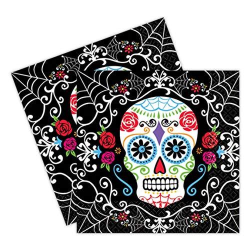 Amscan 9902247 - Servietten Day of the Dead, Größe 33 x 33 cm, 20 Stück, Mexiko, Dia de los Muertos, Halloween, Horror-Party, Mottoparty
