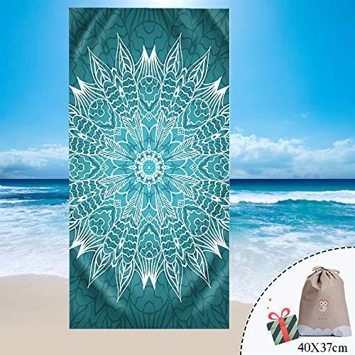 Fansu Toalla de Playa Mandala Bohemia Microfibra Absorción Verano, Rectangular Multi-Funcional para Toalla Baño Mantel Nadar Deportes Viajes Decoración (150 * 180cm,Verde Oscuro)