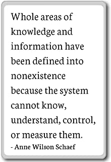Whole areas of knowledge and information... - Anne Wilson Schaef quotes fridge magnet, White