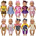 Windolls 10 Sets 14-16 Inch Baby Doll Clothes Dress Outfits Headbands Accessories fits 43cm New Born Baby Doll, Bitty 15 inch Baby Doll, American 18 Inch Girl Doll by Windolls