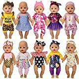 Windolls 10 Sets 14-16 Inch Baby Doll Clothes Dress Outfits Headbands Accessories fits 43cm New Born Baby Doll, Bitty 15 inch Baby Doll, American 18 Inch Girl Doll
