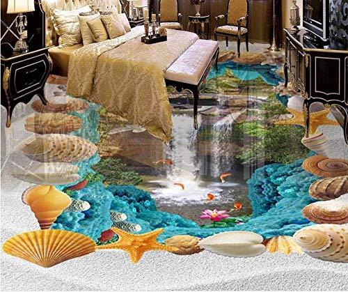 Papel pintado de baldosas 3D autoadhesivo papel tapiz de cascadas oceánicas para habitación impermeable 3D suelo de vinilo mural de pared-400 * 300cm