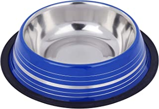 Naaz Pet Premium Colored Silver Stripes Belly Non Tip Anti Skid Stainless Steel Dog Food Feeding Bowl with Removable Rubbe...