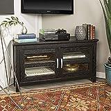 Home Accent Furnishings Lucas 44 Inch Glass Door Corner TV Stand in Black