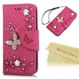 Mavis's Diary iPhone SE Case,iPhone 5S Bling Flip Case - Glitter Gems Diamonds Crystal Butterfly Wallet PU Leather Flip Cover Retro Flower Butterfly Magnetic Closure for iPhone SE/5S/5 - Deep Pink