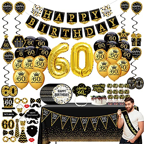 60th Birthday Decorations for Men - (76pack) Black Gold Party Banner, Pennant, Hanging Swirl, Birthday Balloons, Tablecloths, Cupcake Topper, Crown, Plates, Photo Props, Birthday Sash for Gifts Men